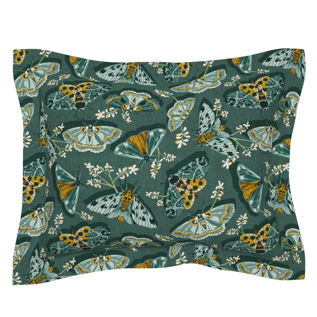 Sebright Pillow Sham featuring Gathering Moths - Antique Green Large Scale  by heatherdutton