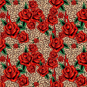 Red tattoo roses on leopard, small scale