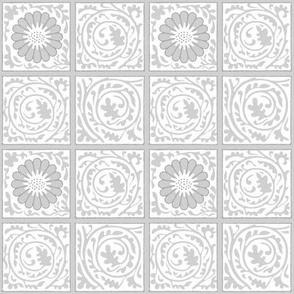 The William Morris Collection ~ Trellis Diaper ~  Silvered on White
