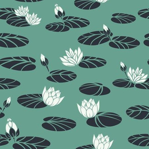Retro Water Lilies in Swan Pond seamless pattern background.