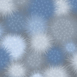 poof balls in blue and gray