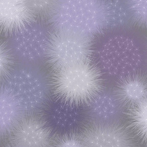 poof balls in lavenders and gray