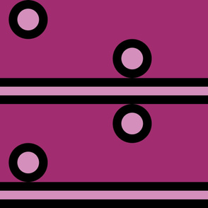 Jumbo Light Pink Circles and Stripes on Dark Pink