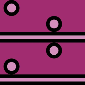 12 Inch Light Pink Circles and Stripes on Dark Pink