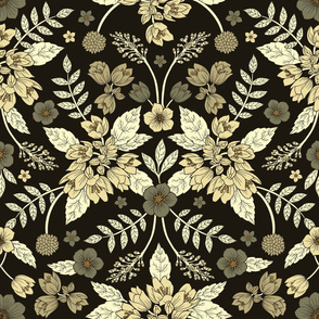Dark Neutral Floral Pattern (large scale)