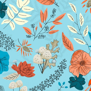 Bright Winter Florals - Blue