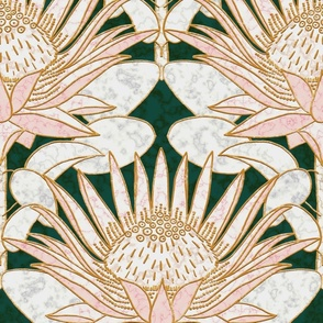 Rose King Protea Art Deco (forest green) 18""