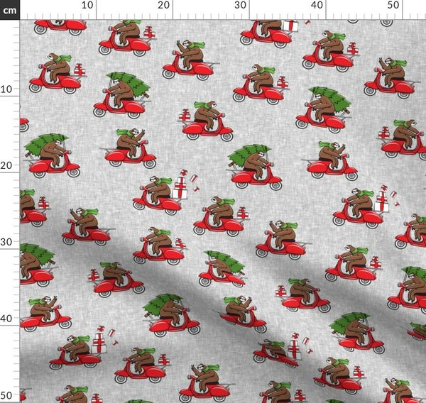 Christmas Sloth.Fabric By The Yard Scooter Sloths Grey Christmas Sloth Lad19