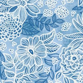 Cobalt Blue Floral Retreat by Angel Gerardo - Jumbo  Scale
