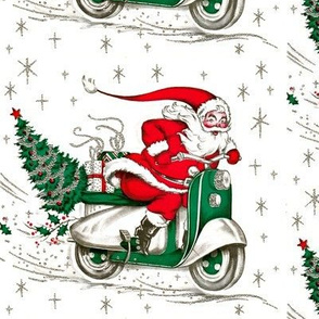 merry Christmas xmas Santa Claus snowflakes silver mistletoe  scooter vespa inspired motorcycles gifts presents trees vintage retro kitsch cute white green