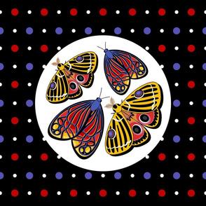 Moths on dots - cushion size