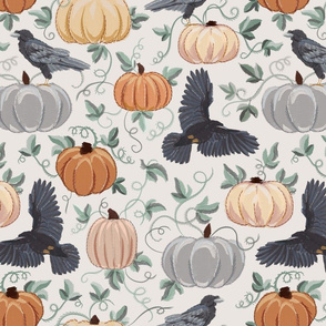 Autumn Ravens and Pumpkin with embroidery effect