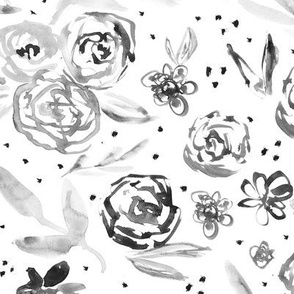 Spring in California in shades of grey • watercolor black and white flowers