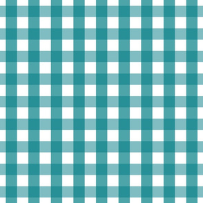 gingham 1in dark teal
