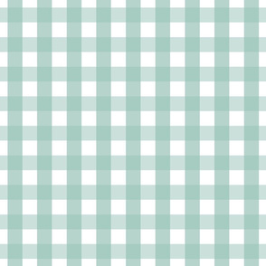 gingham 1in faded teal