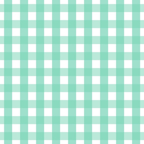 gingham 1in sea foam green