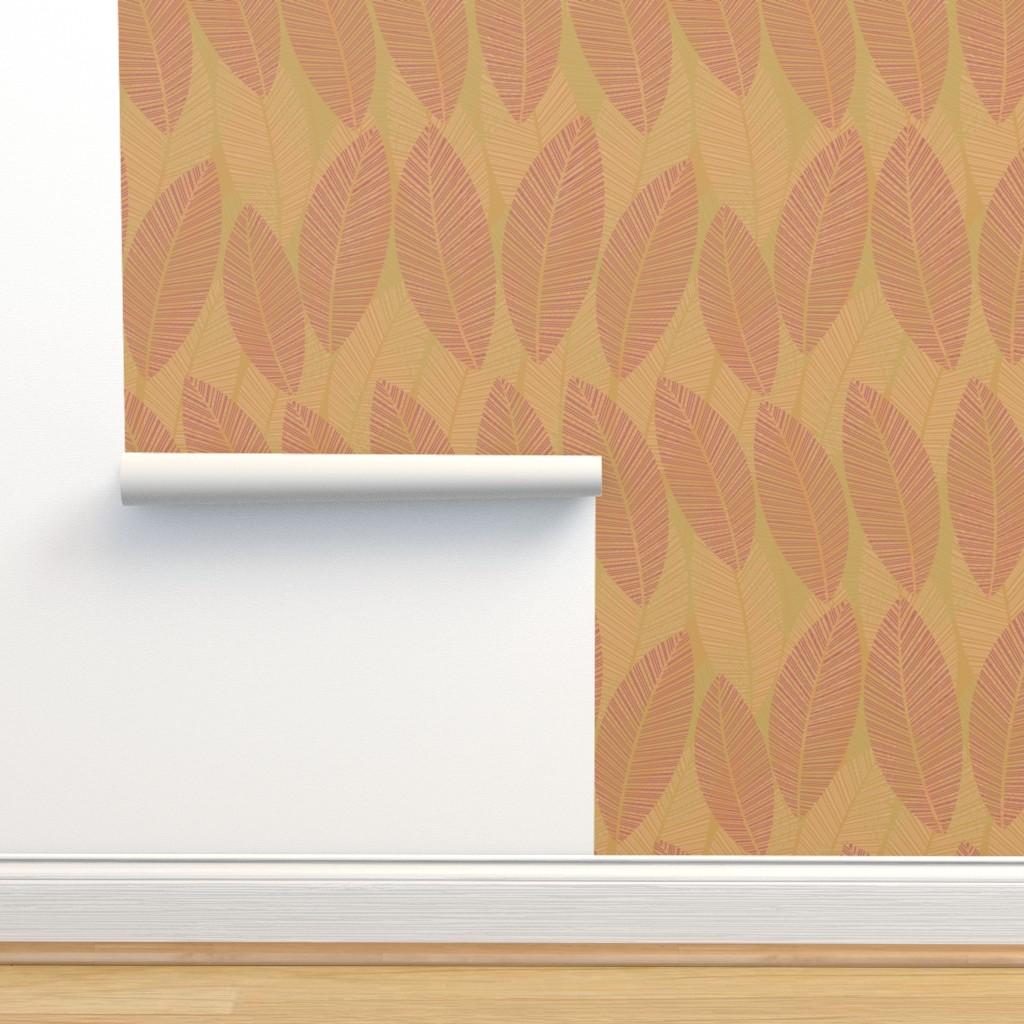 Isobar Durable Wallpaper featuring leaf_warm_autumn by wren_leyland