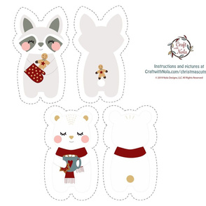 Cut and Sew Christmas Bear and Raccoon