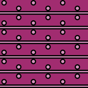 6 Inch Light Pink Circles and Stripes on Dark Pink