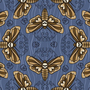 Death Head Moth on Faded Indigo