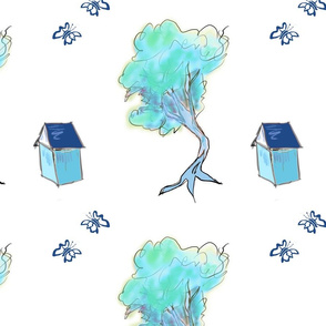 Blue Happy Tree on White