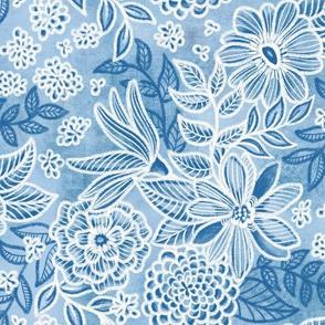Cobalt Blue Floral Retreat by Angel Gerardo