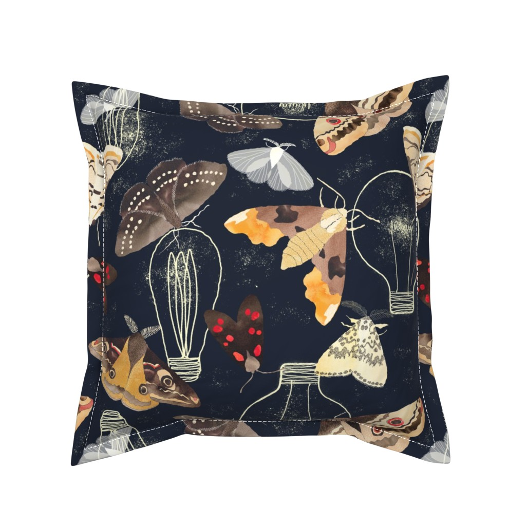 Serama Throw Pillow featuring Moths and lights by cat_hayward