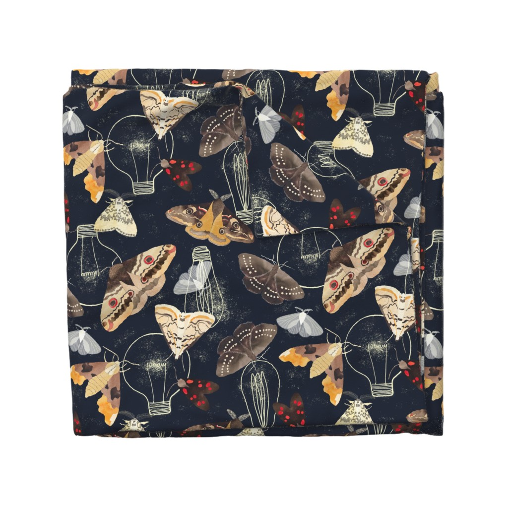 Wyandotte Duvet Cover featuring Moths and lights by cat_hayward