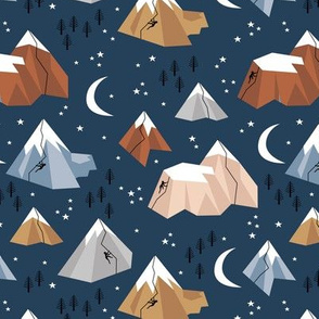 Geometric blue mountains rock climbing and bouldering new moon night winter navy blue boys