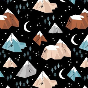 Geometric blue caramel mountains rock climbing and bouldering new moon night Canada winter blue terra cotta boys