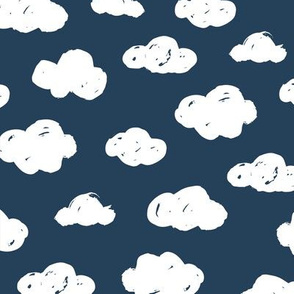 Soft clouds dreams and sleepy wonderland sky pattern winter autumn night navy blue