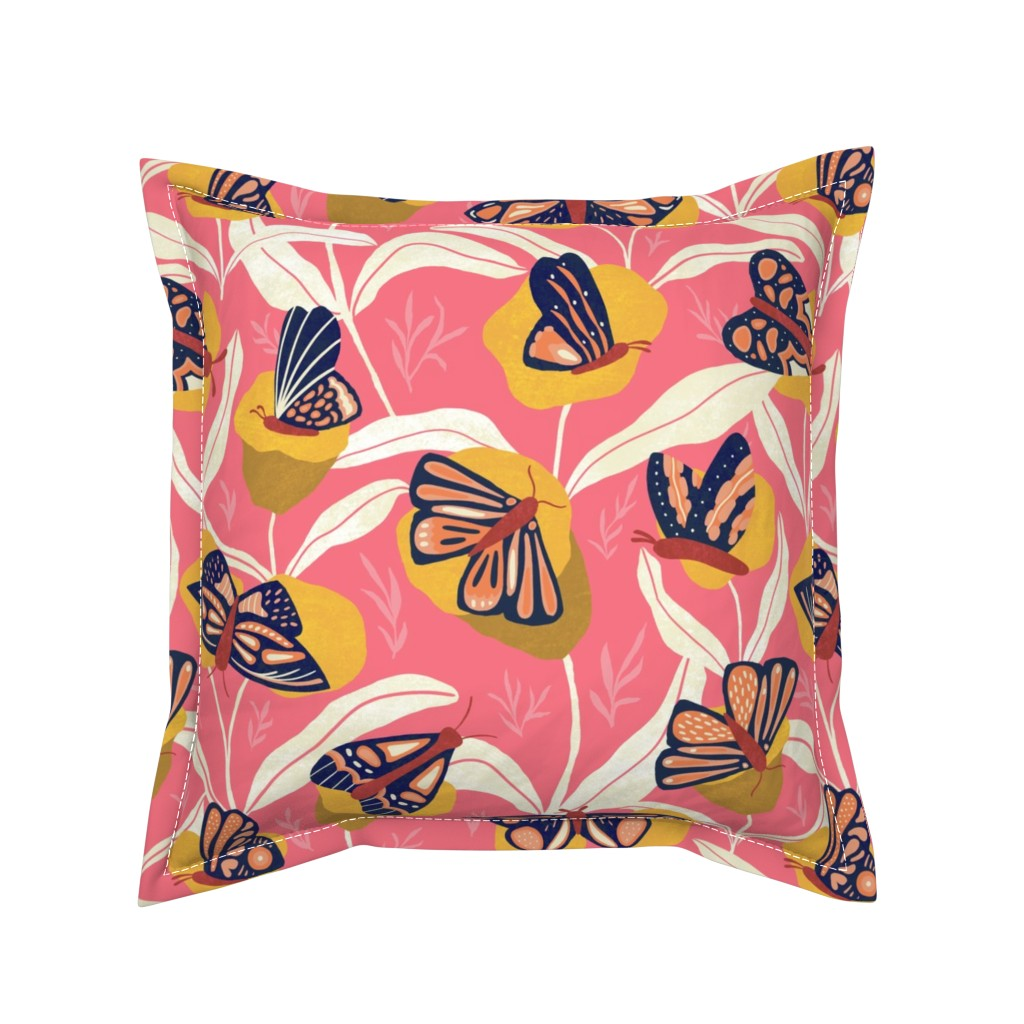 Serama Throw Pillow featuring Bold with Wings - Moths and Flowers by arthousewife