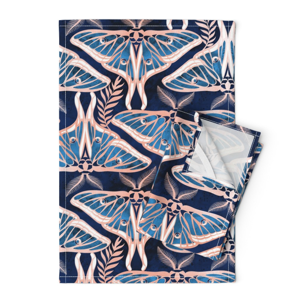 Orpington Tea Towels featuring Normal scale // Deco moths // metal rose texture and blue by selmacardoso