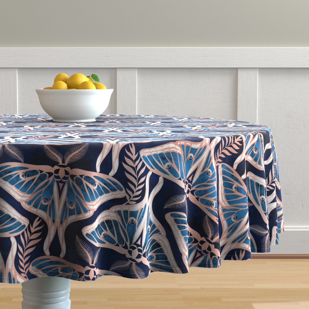 Malay Round Tablecloth featuring Normal scale // Deco moths // metal rose texture and blue by selmacardoso