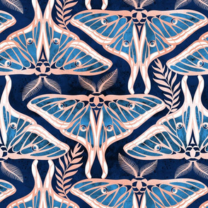 Normal scale // Deco moths // metal rose texture and blue