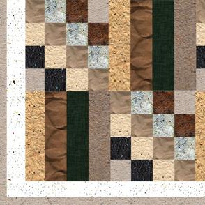 16 Patch + 4 Bar Handmade Paper Cheater Quilt