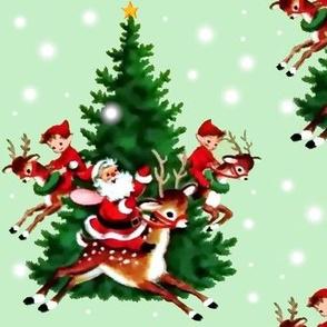 merry Christmas xmas Santa Claus trees reindeer snow elf elves mint green stars red brown vintage retro kitsch