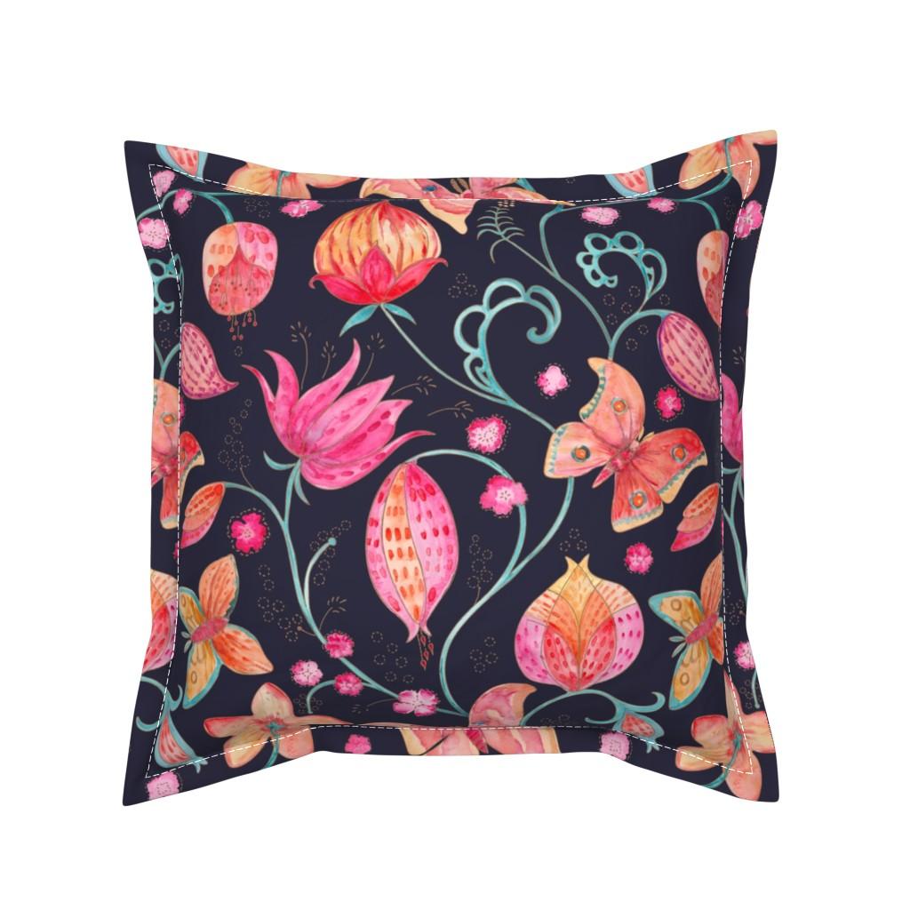 Serama Throw Pillow featuring Wild Silk Moths evening blue by gartmanstudio