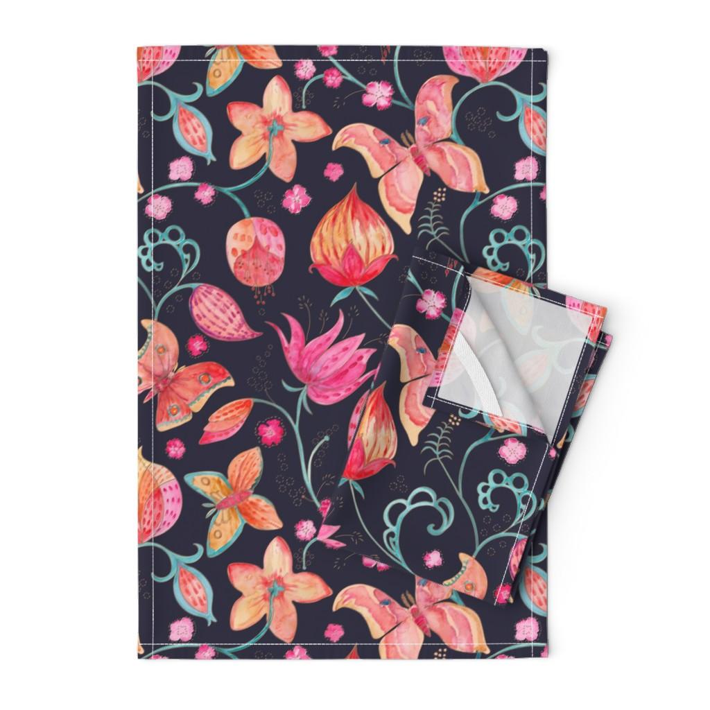 Orpington Tea Towels featuring Wild Silk Moths evening blue by gartmanstudio