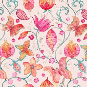 Wild Silk Moths pale peach pink