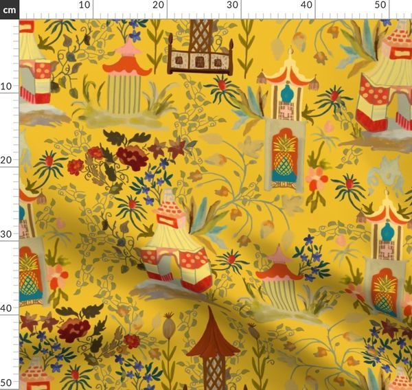 Yellow Pagoda Chinoiserie Wrapping Paper