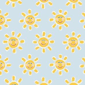 Smiley Sunshine on Light Blue