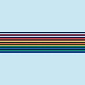 vintage t-shirt stripes rainbow on light blue