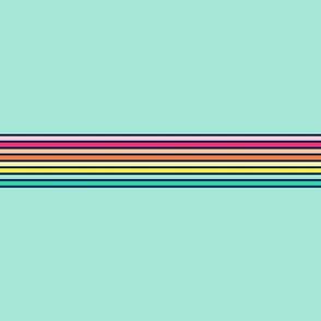 vintage t-shirt stripes rainbow on teal