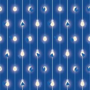 Moths on Fairy Lights - Monochromatic blue