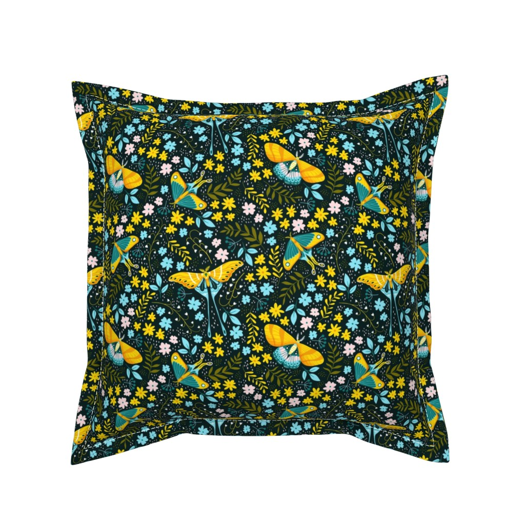 Serama Throw Pillow featuring Moths garden by whimsical_brush