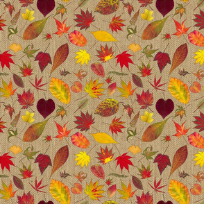 Fall Leaves on Burlap natural