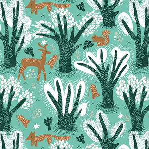 Booming Forest seamless pattern