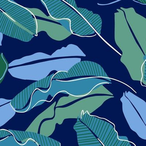 Banana leaves dark blue and green