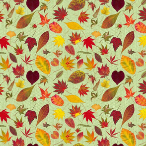 Fall Leaves on Burlap grn